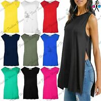 Womens Jersey Sides Split Slit Plain Sleeveless Ladies Long Tee T Shirt Top Vest