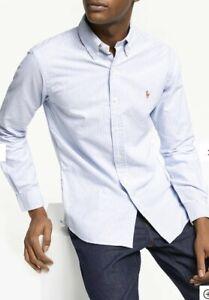 Ralph-Lauren-Para-Hombres-Camisa-Oxford-Ajuste-Personalizado-En-Azul-Blanco-con-rayas