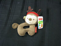 Fisher-price Monkey Reindeer Baby Ring Rattle 6 With Tags