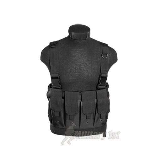 AIRSOFT MAG POUCHES CARRIER VEST CHEST RIG TACTICAL MILITARY ARMY BLACK