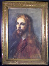 Bildnis Jesu - grossformatiges Aquarell 19. Jhd. - Impressionismus
