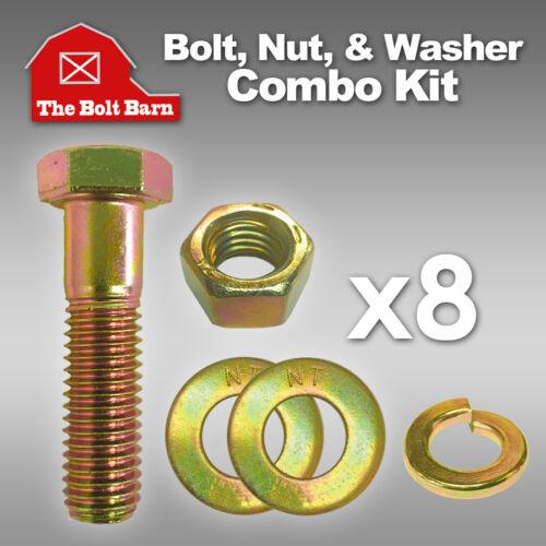 Washers 8 1//4-20x1-1//4 Grade 8 Hex Cap Screws Bolts w// Hex Nuts Lock Washers