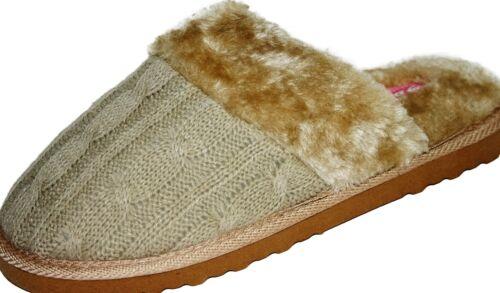 Dunlop Ladies Women/'s Girls Light Slip On Mule Slippers Fur Cream Beige Size 5