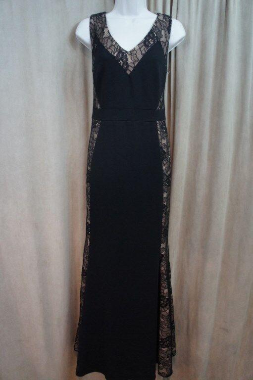 Js Collections Kleid 6 Schwarz Hautfarben Zum Schnüren Ärmellos Volle Länge