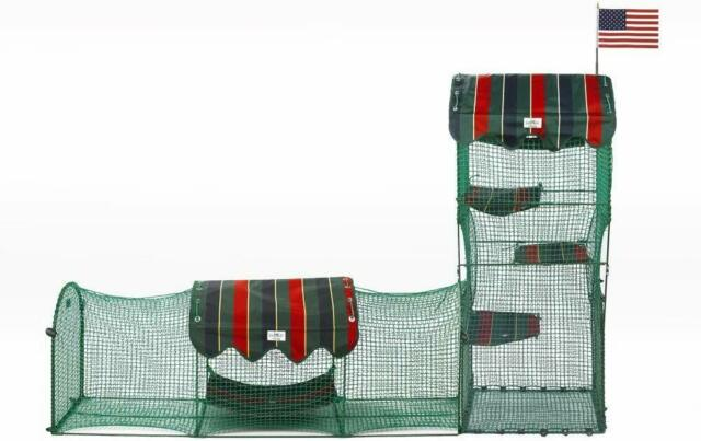 Kittywalk Systems Outdoor Cat Enclosure Green Penthouse Deck & Patio Curve Crate