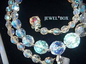 VINTAGE-1950s-Aurora-Borealis-Crystal-Glass-BEAD-NECKLACE-w-AB-RHINESTONE-CLASP