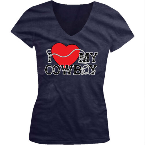 I Love My Cowboy Heart Lasso Rope Hat Rodeo Country Him Juniors V-Neck T-Shirt