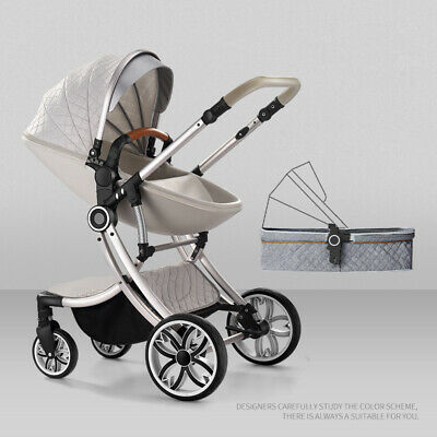 Baby Stroller 2 in 1 Pram For Newborn High View Pushchair Folding Carriage