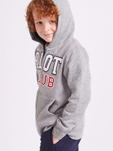 New Boys Grey Hoodie Jumper Top Zip Riot Club Jumper Various Ages 2-14 Free P+P