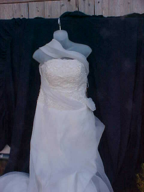 white chiffon and satin, a-line wedding dress with beaded bodice and train