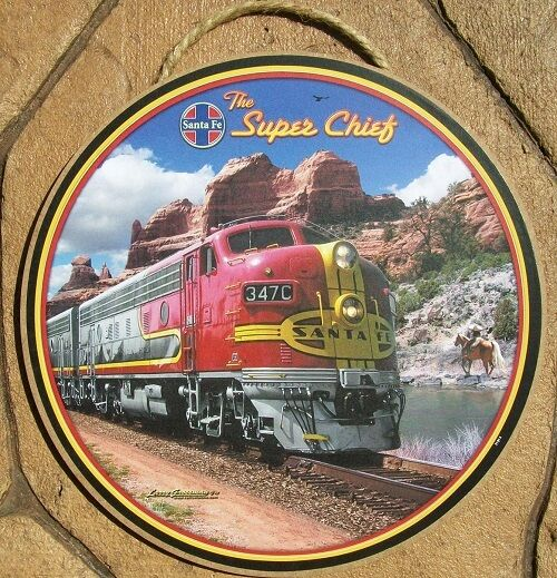 SANTA FE RAILROAD Wooden Sign - 10 Inch Diameter Train Wall Art ...
