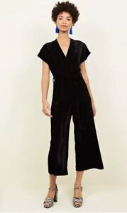 3f0889f07c479 Image is loading New-Look-Black-Velvet-Wrap-Culotte-Jumpsuit-Size-
