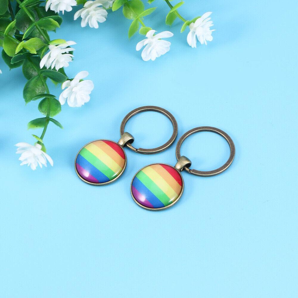 2 PCS Key Chain Colorful Rainbow Handbag Hanging Ornament for Holiday Gift