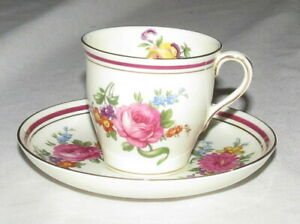 Aynsley-Coffee-Demitasse-Cup-amp-Saucer-Flowers-amp-Maroon-Ring