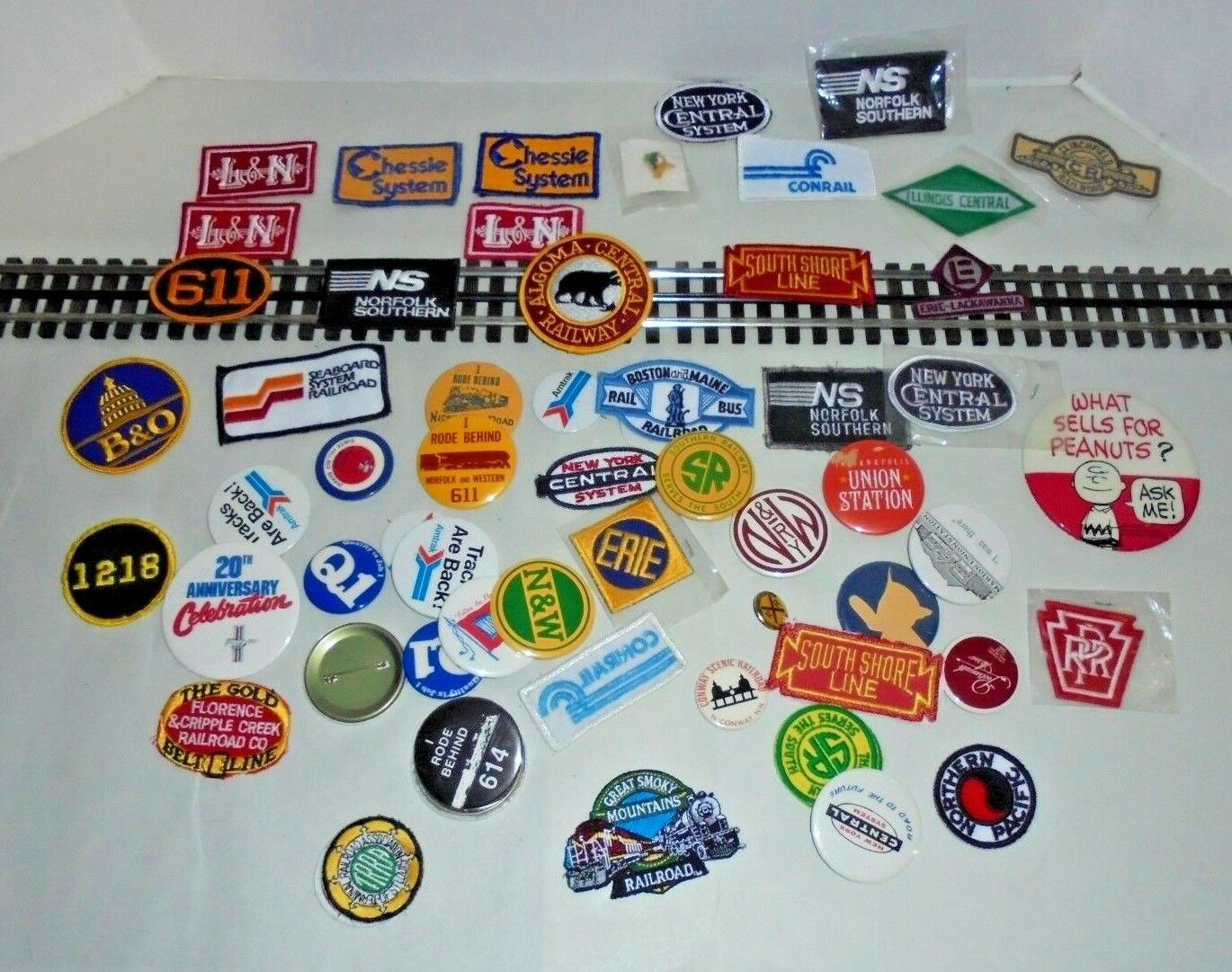 RAILROAD TRAIN PATCHES AND BUTTONS DIFFERENT ROAD NAMES NICE FOR THE RESELLER