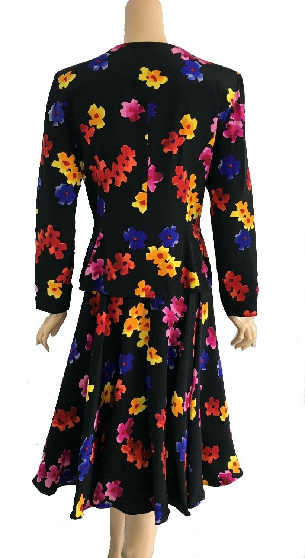 Vintage Arnold Scaasi Black Multi Colored Floral … - image 2