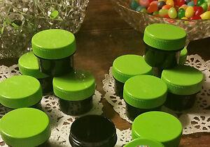 24 .5oz 1/2 OZ 1Tblsp BLACK Opaque Plastic Jars Lime Green Caps Lids Top #3803