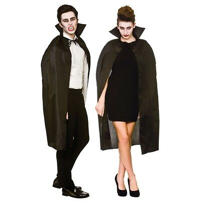 Bello Adulto Vampiro Nero Mantella Con Colletto Costume Halloween Accessorio Giada Bianca