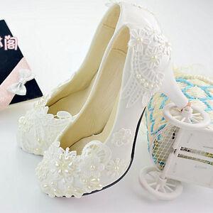 Handmade Women Bridal Wedding Shoe Taul High Heel Beads Pearl White Lace Flower