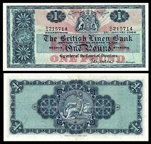 Scotland-1-Pound-1966-25-1-1966-Pick-166c-XF-aUNC-The-British-Linen-Bank