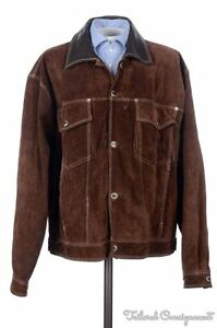 KARL-KANI-Brown-Heavy-Suede-Leather-Snap-Front-Mens-Bomber-Jacket-Coat-XL