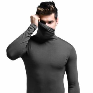 Men-039-s-termica-Cuello-alto-Cuello-de-tortuga-Manga-larga-Camiseta-blusa-top-de-cuello-alto