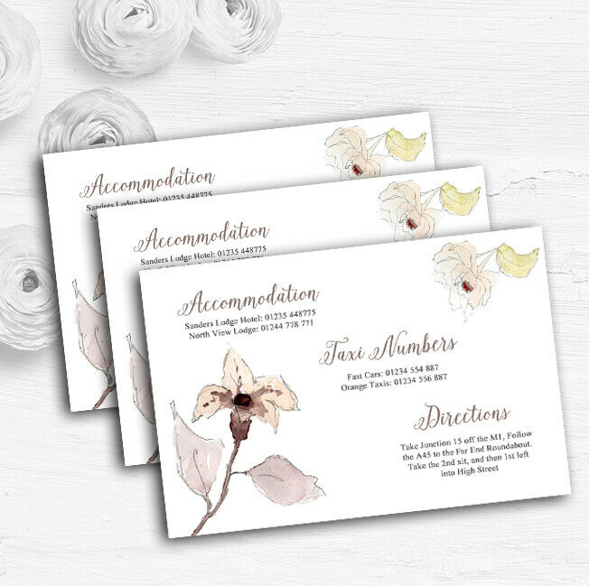 Beautiful Peach Watercolour Flowers Personalised Wedding Guest Information Cards