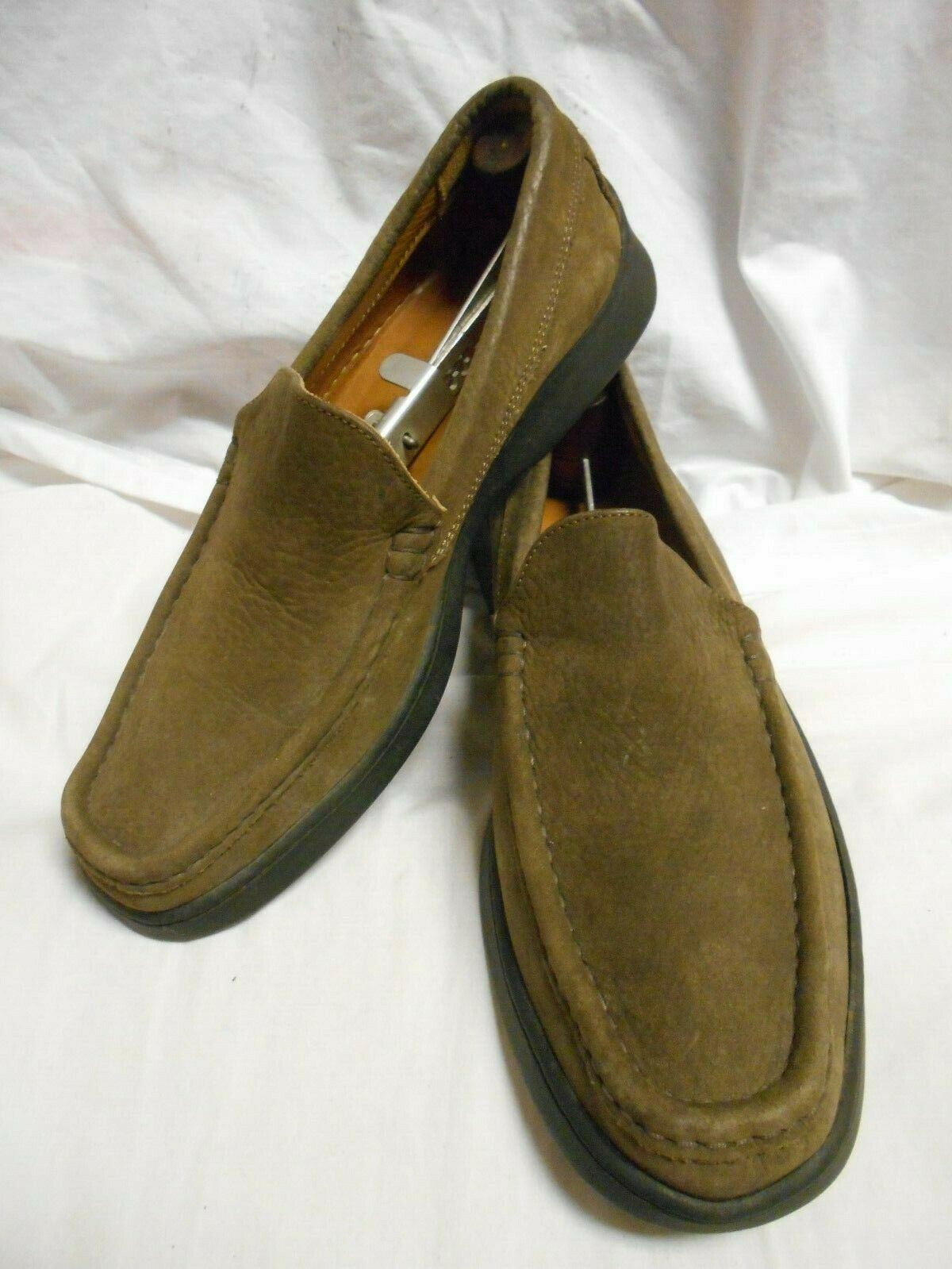 Excellent Johnston&Murphy Men's Brown Nubuck Apron Toe Loafers Made In Italy 9M
