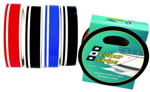 Black Twin Pinstripe Vinyl Decorative Boat Tape  PSP  40mm X 10M 1957B