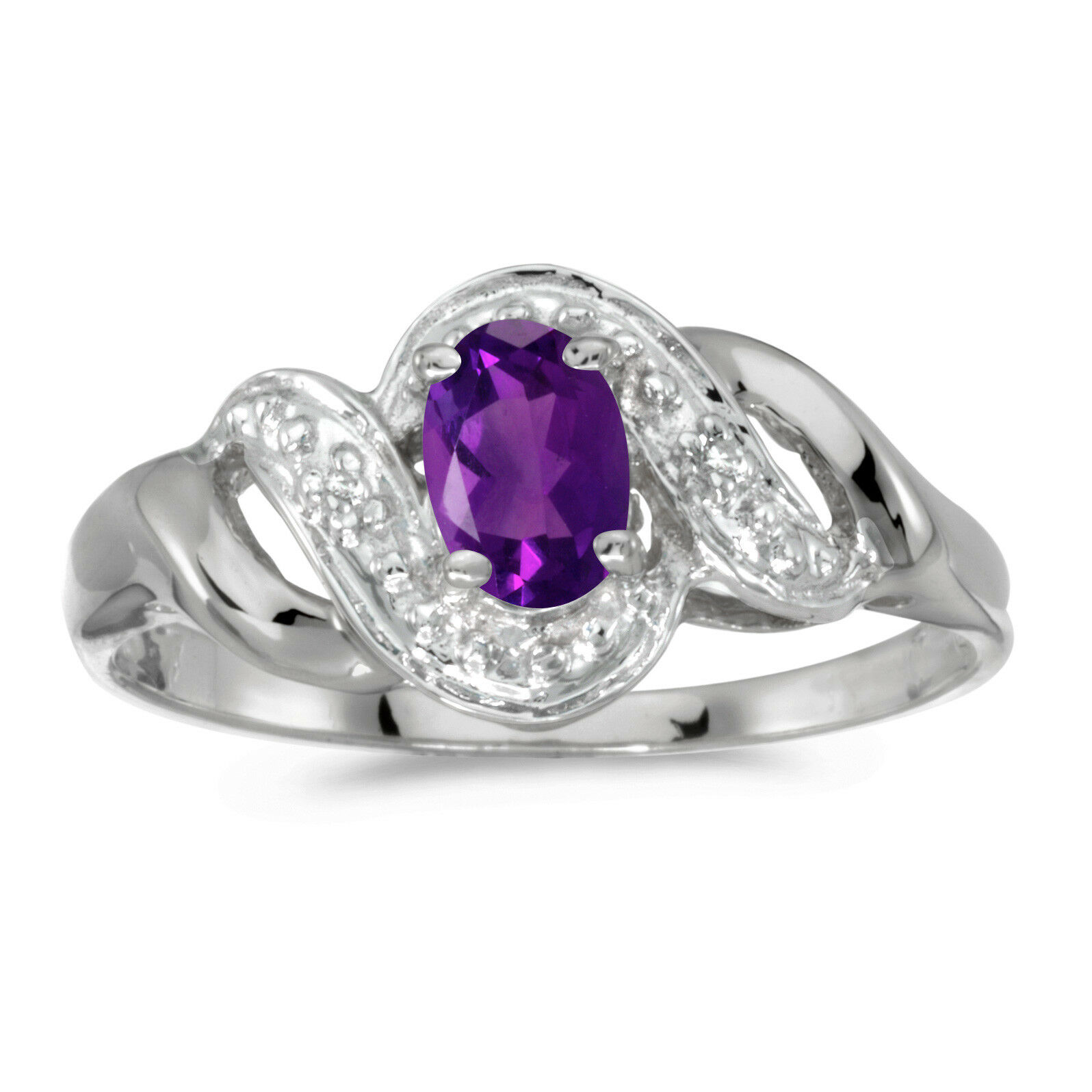 14k White gold Oval Amethyst And Diamond Swirl Ring