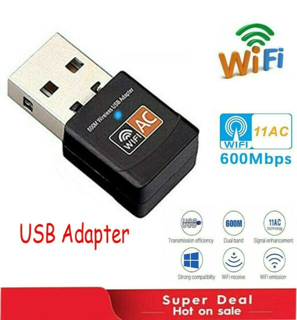 600Mbps Dual Band Wireless USB WiFi Dongle LAN Adapter 802.11ac//a//b//g//n 5//2.4Ghz