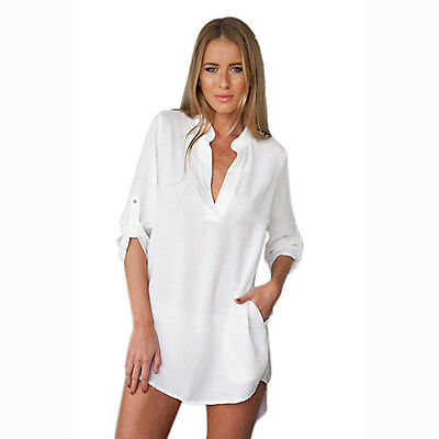 Casual Women Blouse Lady Long Sleeve Tunic V Neck Loose Tops Casual Shirt Blouse