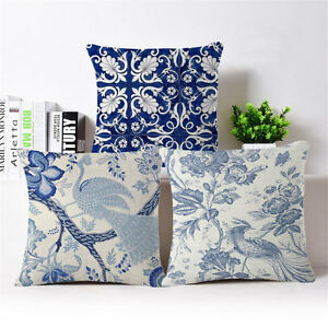Vintage Blue flowers Cotton Linen Throw Pillow Case Cushion Cover ...