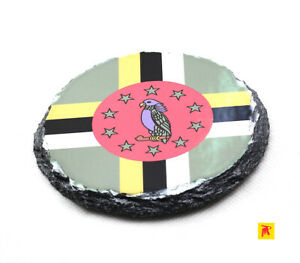 Dominica-Flag-Round-Slate-Coaster-with-Natural-Edge