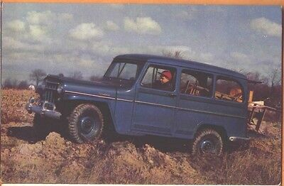 Lot of 2 Mid-1950s Jeep 4-wheel drive Utility Wagon dealer promo adv postcards