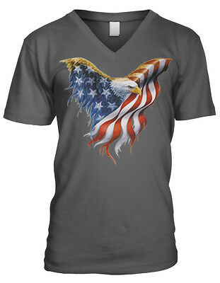 American Bald Eagle USA Wings Men V-Neck US Flag Patriotic Shirts