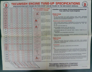 TECUMSEH TWO & FOUR CYCLE GASOLINE ENGINE TUNE-UP