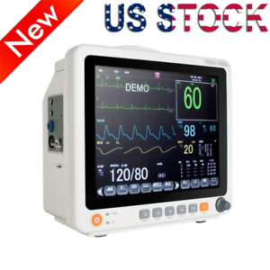 "LCD 12.1"" Portable Touch Patient Monitor Vital Signs ECG NIBP RESP TEMP SPO2 PR"