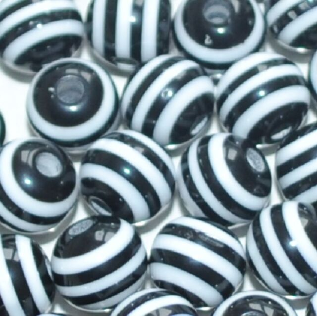 100pcs black and white striped round resin beads 8mm