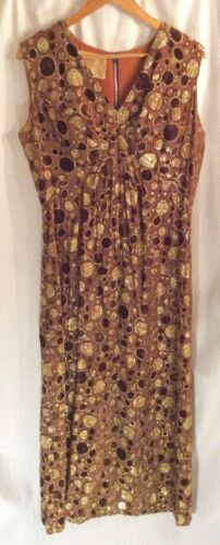 Vintage Carrie Couture (60s-70s) Brown & Gold Chif