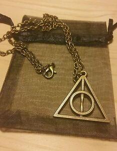 Colgante-y-Collar-Harry-Potter-Reliquias-de-la-Muerte-BRONCE-NUEVO