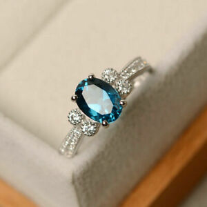 1.70 Ct Genuine Diamond Oval Blue Topaz 14K Solid White Gold Rings Size M N O P