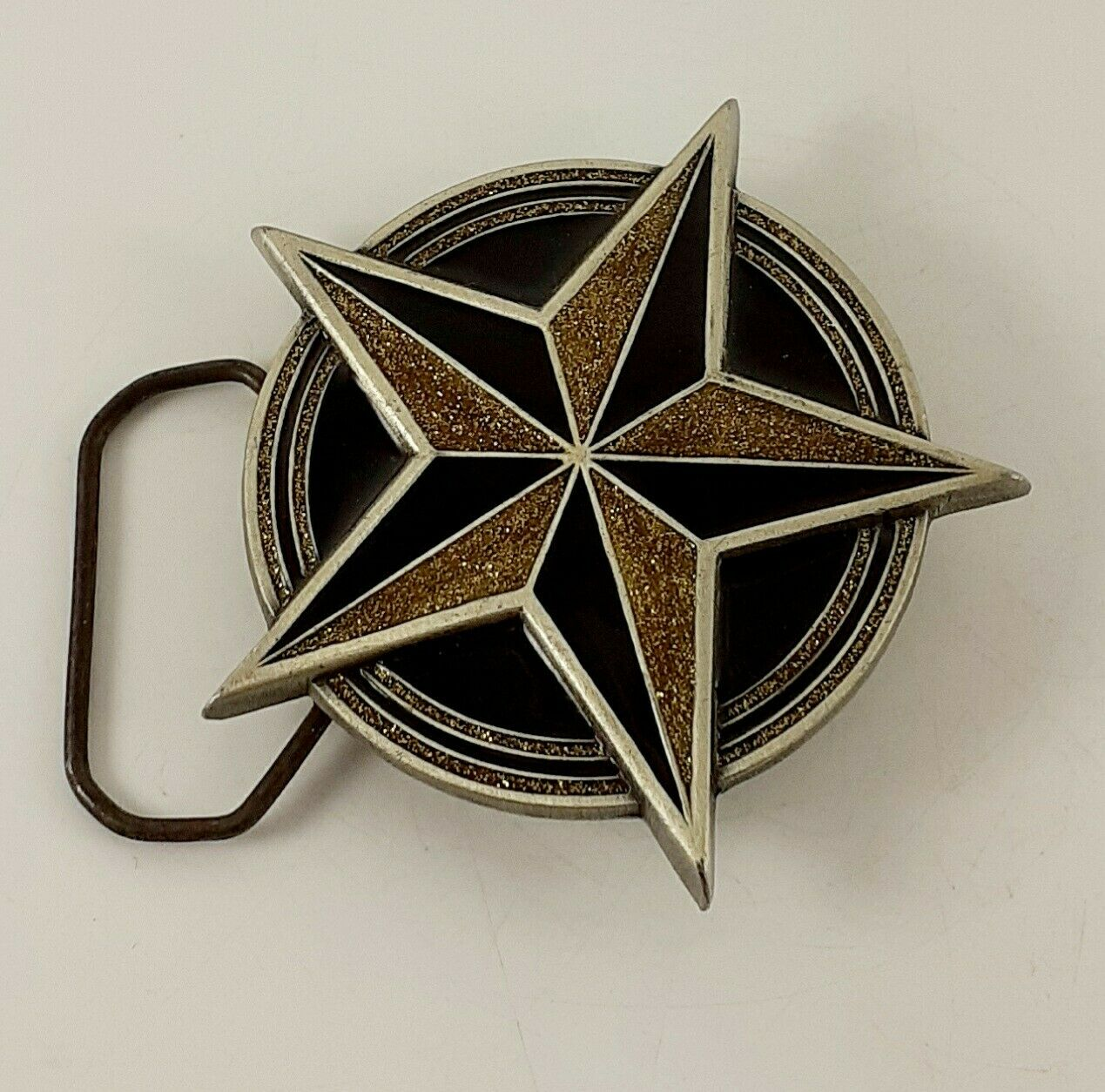2002 Great American Products Pewter Belt Buckle 4613. Star with Skull Detail (4)