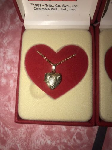 SUPREME CREATIONS ~ Vtg NEW Annie Heart Locket Necklace 1981 Movie ~ Set of 2