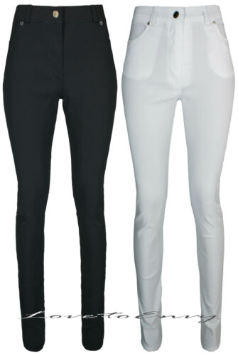 Ladies Black High Waist Trousers Quality Work School Stretch SUPER SKINNY Pants.