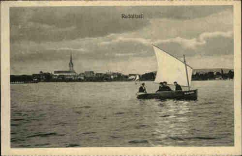 Radolfzell  Bodensee s/w Postkarte ~1920/30 Fernsicht vom Bodensee Segelboot