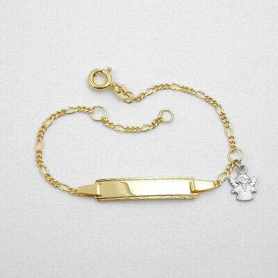 Baby Taufe Gravur Armband Mit Name Datum Gelb- Gold 333 Mit Weißgold Kreuz Engel