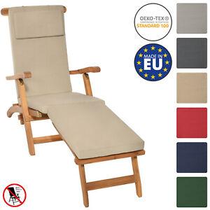 Luxury Recliner Steamer Chair Pad Deckchair Cushion Removable Cover