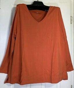J-Jill-women-Plus-size-2X-stretch-V-neck-tunic-top-long-sleeve-Pima-cotton-New