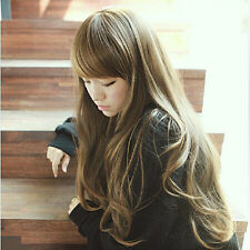 Fashion Women Long Brown Curly Wavy Wigs Side Fringe Hair Korean Style Full Wig